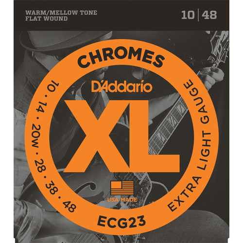 D'Addario ECG23 Extra Light Chromes Flat Wound Electric Guitar Strings (6-String, 10 - 48)