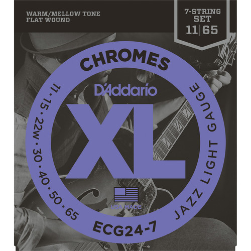 D'Addario ECG24-7 Jazz Light Chromes Flat Wound Electric Guitar Strings (7-String, 11 - 65)