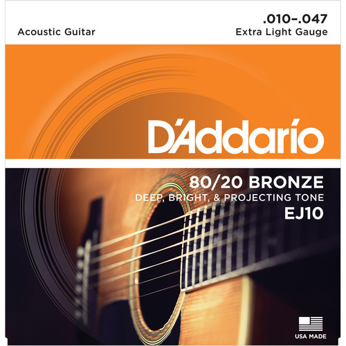 D'Addario EJ10 Extra Light 80/20 Bronze Acoustic Guitar Strings (6-String Set, 10 - 47)