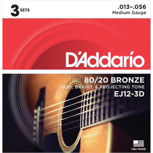 D'Addario EJ12-3D Medium 80/20 Bronze Acoustic Guitar Strings (6-String Set, 13 - 56, 3-Pack)