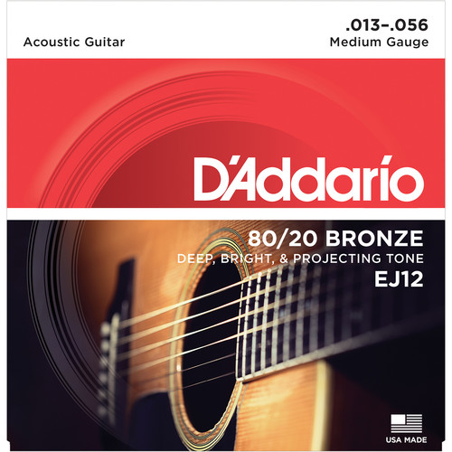 D'Addario EJ12 Medium 80/20 Bronze Acoustic Guitar Strings (6-String Set, 13 - 56)