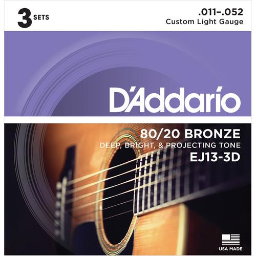 D'Addario EJ13-3D Custom Light 80/20 Bronze Acoustic Guitar Strings (6-String Set, 11 - 52, 3-Pack)