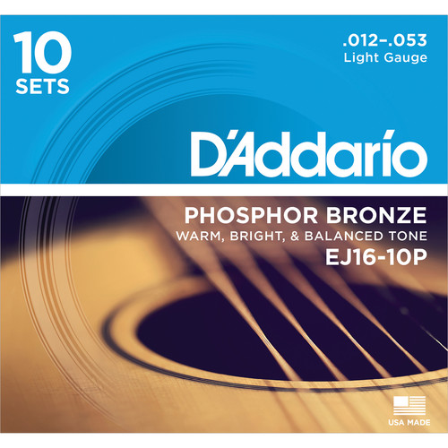 D'Addario EJ16-10P Light Phosphor Bronze Pro-Pack Acoustic Guitar Strings (6-String Set, 12 - 53, 10-Pack)