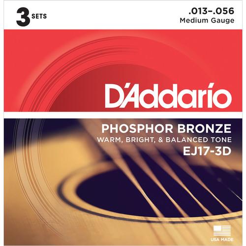 D'Addario EJ17-3D Medium Phosphor Bronze Multi-Pack Acoustic Guitar Strings (6-String Set, 13 - 56, 3-Pack)