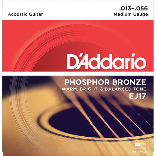 D'Addario EJ17 Medium Phosphor Bronze Acoustic Guitar Strings (6-String Set, 13 - 56)