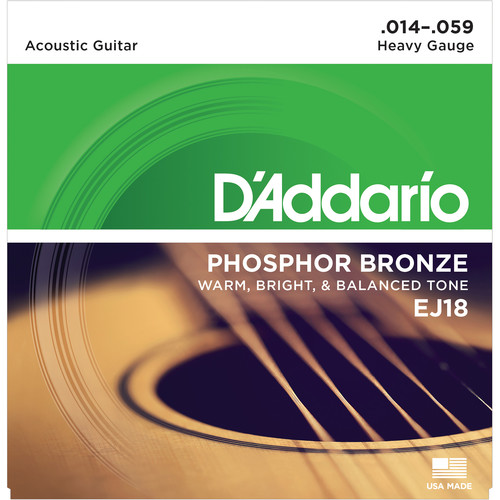 D'Addario EJ18 Heavy Phosphor Bronze Acoustic Guitar Strings (6-String Set, 14 - 59)