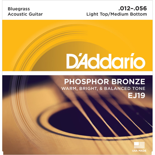 D'Addario EJ19 Light Top/Medium Bottom Bluegrass Phosphor Bronze Acoustic Guitar Strings (6-String Set, 12 - 56)