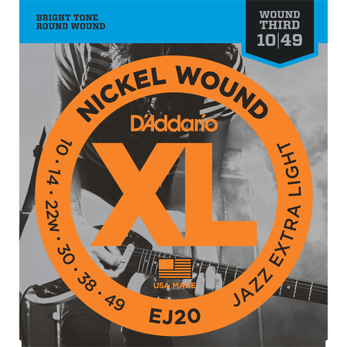 D'Addario EJ20 Jazz Extra Light XL Nickel Wound Electric Guitar Strings (6-String Set, 10 - 49)