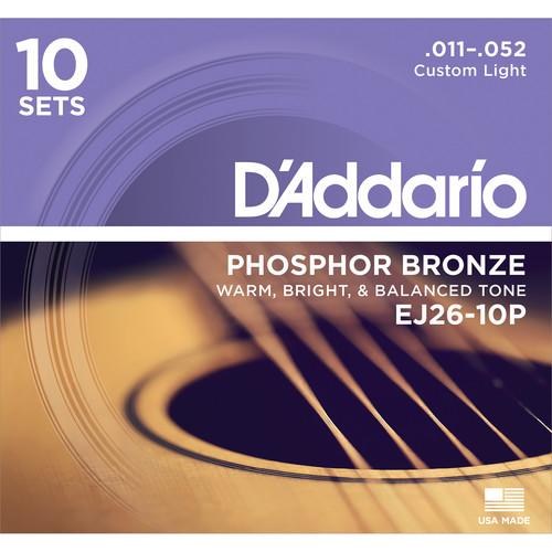 D'Addario EJ26-10P Custom Light Phosphor Bronze Pro-Pack Acoustic Guitar Strings (6-String Set, 11 - 52, 10-Pack)