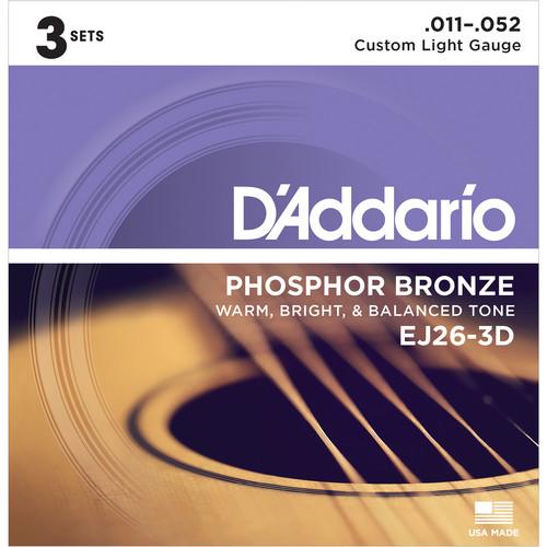 D'Addario EJ26-3D Custom Light Phosphor Bronze Multi-Pack Acoustic Guitar Strings (6-String Set, 11 - 52, 3-Pack)
