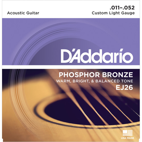 D'Addario EJ26 Custom Light Phosphor Bronze Acoustic Guitar Strings (6-String Set, 11 - 52)