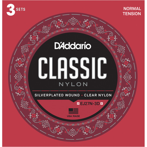 D'Addario Normal Tension Student Classic Nylon Strings for Classical Guitar (6-String Set, Clear Nylon, 29 - 45, 3-Pack)
