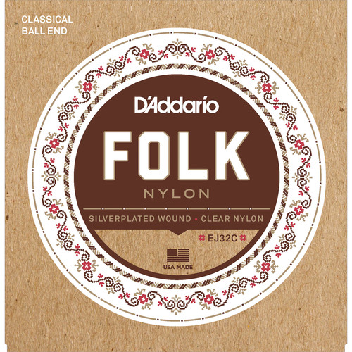 D'Addario EJ32C Folk Nylon Classical Guitar Strings (6-String Set, Clear Nylon, Ball End, 28 - 45)