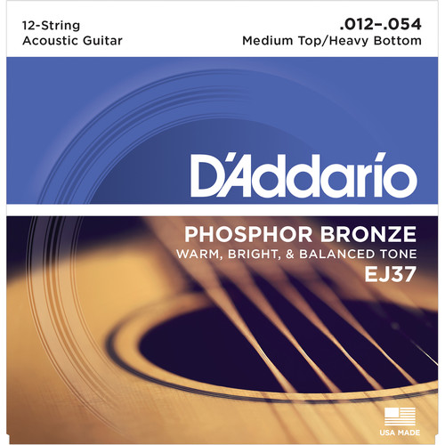 D'Addario EJ37 Medium Top/Heavy Bottom Phosphor Bronze Acoustic Guitar Strings (12-String Set, 12 - 54)
