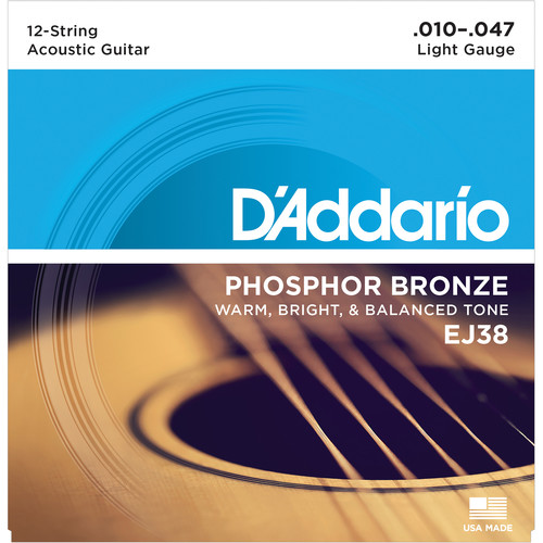 D'Addario EJ38 Light Phosphor Bronze Acoustic Guitar Strings (12-String Set, 10 - 47)