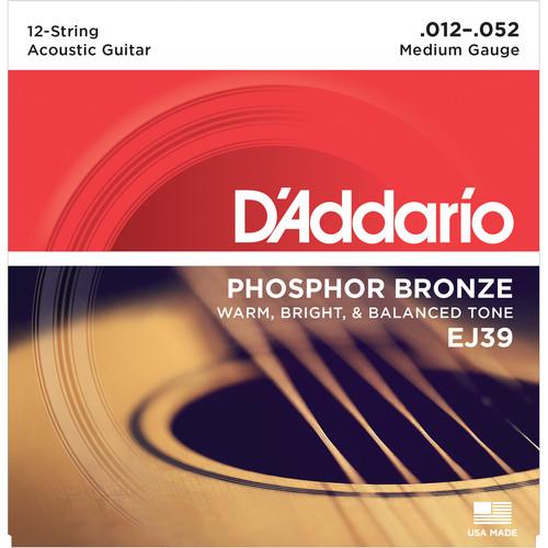 D'Addario EJ39 Medium Phosphor Bronze Acoustic Guitar Strings (12-String Set, 12 - 52)