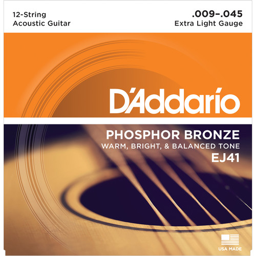D'Addario EJ41 Extra Light Phosphor Bronze Acoustic Guitar Strings (12-String Set, 9 - 45)
