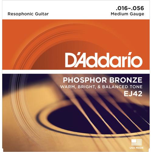 D'Addario EJ42 Medium Phosphor Bronze Resophonic Guitar Strings (6-String Set, 16 - 56)