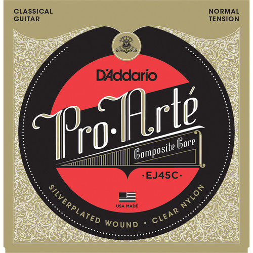 D'Addario EJ45C Normal Tension Pro-Arte Composite Classical Guitar Strings (6-String Set, Clear Nylon, 28 - 44)