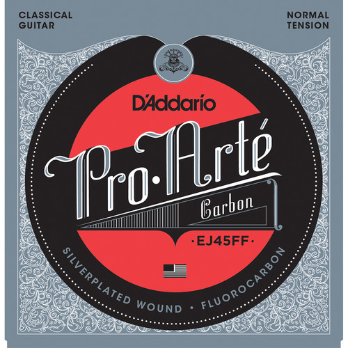 D'Addario EJ45FF Normal Tension Pro-Arte Carbon Classical Guitar Strings (6-String Set, Fluorocarbon Trebles, 24 - 44)