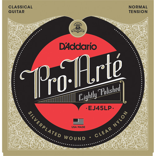 D'Addario EJ45LP Normal Tension Pro-Arte Lightly Polished Composite Classical Guitar Strings (6-String Set, Clear Nylon, 28 - 43)