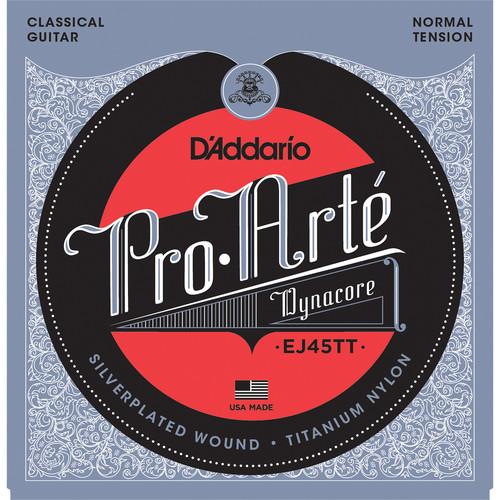 D'Addario EJ45TT Normal Tension Pro-Arte Dynacore Classical Guitar Strings (6-String Set, Titanium Trebles, 28 - 44)
