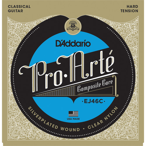 D'Addario EJ46C Hard Tension Pro-Arte Composite Classical Guitar Strings (6-String Set, Clear Nylon, 28.5 - 46)