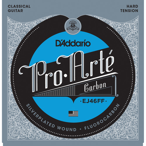 D'Addario EJ46FF Hard Tension Pro-Arte Carbon Classical Guitar Strings (6-String Set, Dynacore Basses, 24.8 - 46)