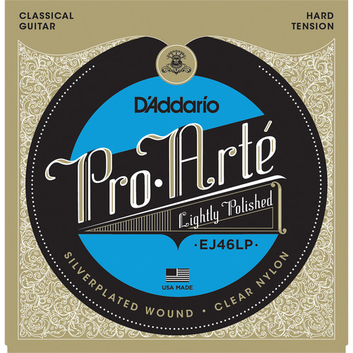 D'Addario EJ46LP Hard Tension Pro-Arte Lightly Polished Composite Classical Guitar Strings (6-String Set, Clear Nylon, 28.5 - 44)