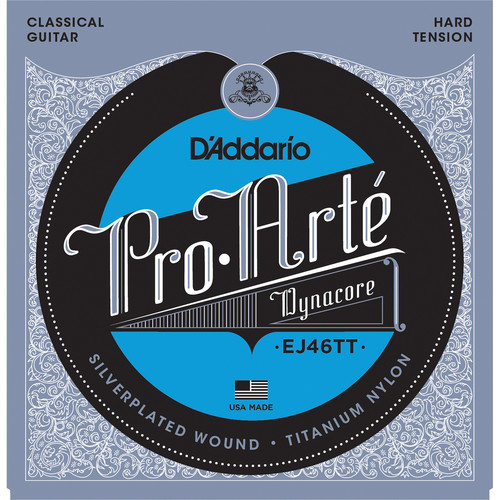D'Addario EJ46TT Hard Tension Pro-Arte Dynacore Classical Guitar Strings (6-String Set, Titanium Trebles, 28.5 - 46)