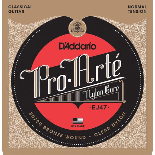 D'Addario EJ47 Normal Tension 80/20 Bronze Pro-Arte Nylon Classical Guitar Strings (6-String Set, Clear Nylon, 28 - 43)