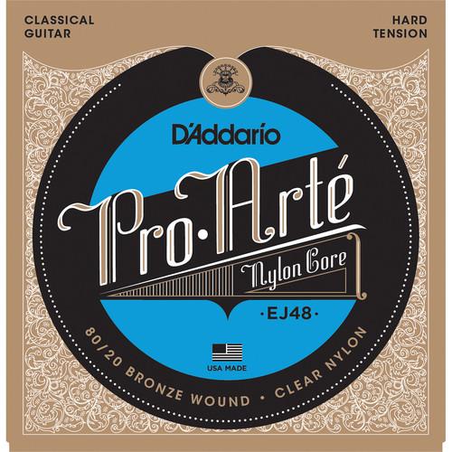 D'Addario EJ48 Hard Tension 80/20 Bronze Pro-Arte Nylon Classical Guitar Strings (6-String Set, Clear Nylon, 28.5 - 44)