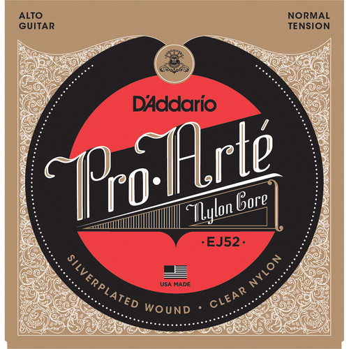 D'Addario EJ52 Normal Tension Pro-Arte Nylon Alto Classical Guitar Strings (6-String Set, Clear Nylon, 25 - 34)