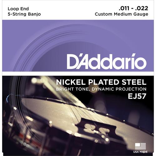 D'Addario EJ57 Custom Medium Nickel-Plated Steel Banjo Strings (5-String Set, Loop End, 11 - 22)