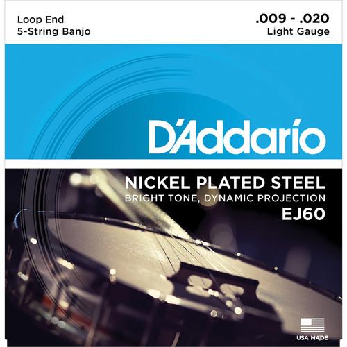 D'Addario EJ60 Light Nickel-Plated Steel Banjo Strings (5-String Set, Loop End, 9 - 20)
