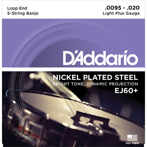 D'Addario EJ60+ Light Plus Nickel-Plated Steel Banjo Strings (5-String Set, Loop End, 9.5 - 20)