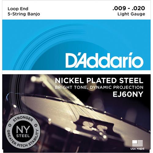 D'Addario EJ60NY Light Nickel-Plated Steel Banjo Strings (5-String Set, Loop End, 9 - 20)