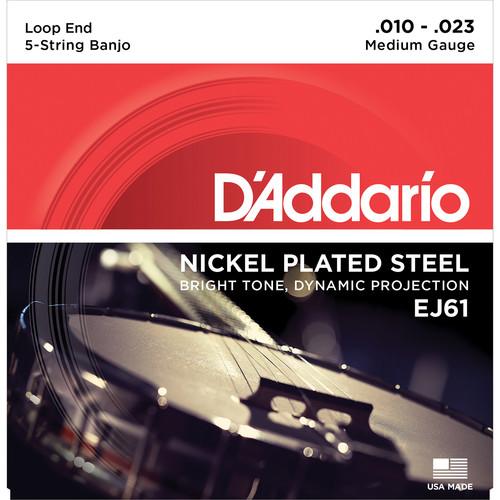 D'Addario EJ61 Medium Nickel-Plated Steel Banjo Strings (5-String Set, Loop End, 10 - 23)