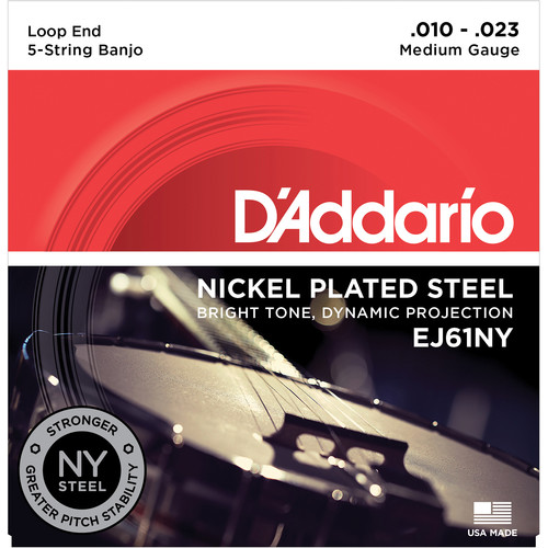 D'Addario EJ61NY Medium Nickel-Plated Steel Banjo Strings (5-String Set, Loop End, 10 - 23)