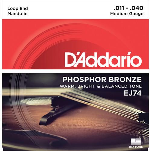 D'Addario EJ74 Medium Phosphor Bronze Mandolin Strings (8-String Set, Loop End, 11 - 40)