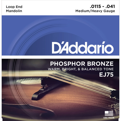 D'Addario EJ75 Medium/Heavy Phosphor Bronze Mandolin Strings (8-String Set, Loop End, 11.5 - 41)