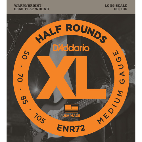 D'Addario ENR72 Medium XL Half Rounds Electric Bass Strings (4-String, Long Scale, 50 - 105)