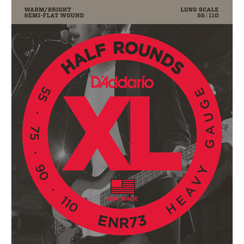 D'Addario ENR73 Heavy XL Half Rounds Electric Bass Strings (4-String, Long Scale, 55 - 110)