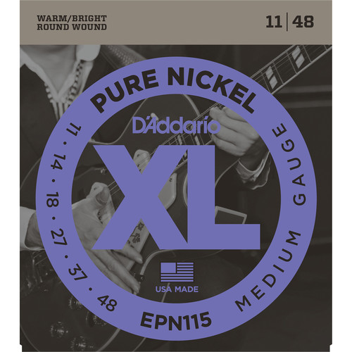 D'Addario EPN115 Blues/Jazz Rock XL Pure Nickel Round Wound Electric Guitar Strings (6-String, 11 - 48)