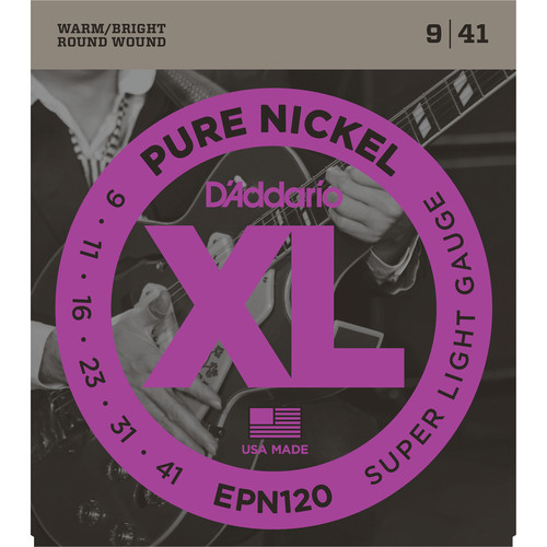 D'Addario EPN120 Super Light XL Pure Nickel Round Wound Electric Guitar Strings (6-String, 9 - 41)