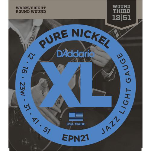 D'Addario EPN21 Jazz Light XL Pure Nickel Round Wound Electric Guitar Strings (6-String, 12 - 51)