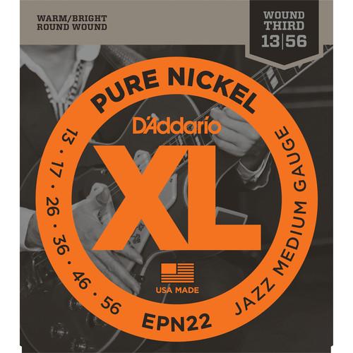 D'Addario EPN22 Jazz Medium XL Pure Nickel Round Wound Electric Guitar Strings (6-String, 13 - 55)