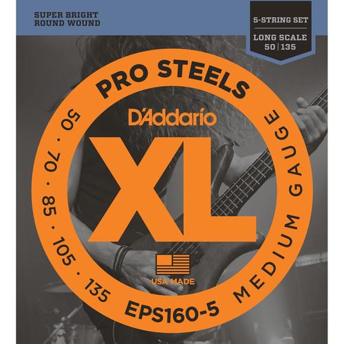 D'Addario EPS160-5 Medium XL Pro Steels Electric Bass Strings (5-String, Long Scale, 50 - 135)
