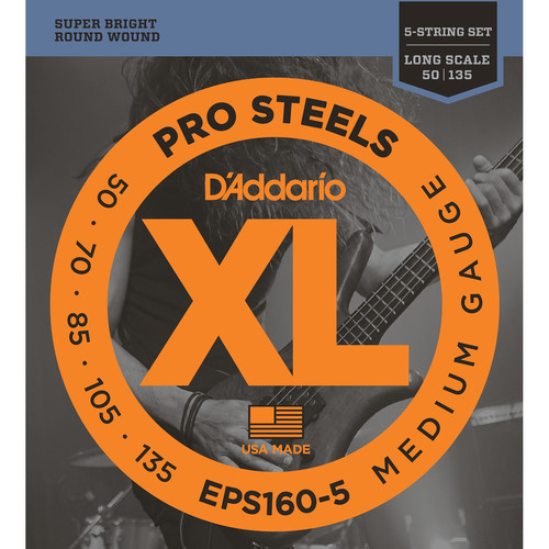 D'Addario EPS160-5 Medium XL Pro Steels Electric Bass Strings (5-String, Long Scale, 50 - 135)