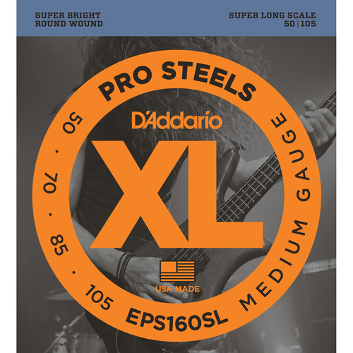 D'Addario EPS160SL Medium XL Pro Steels Electric Bass Strings (4-String, Super Long Scale, 50 - 105)